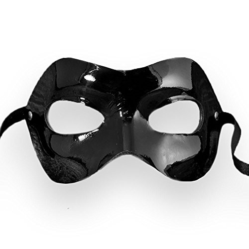 VIVO Mens 50 Shades of Grey Christian Grey Black Gloss Leather Venetian Masquerade (50 Shades Of Grey Halloween)
