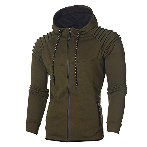 Realdo Men's Sweatshirt Set, Autumn Winter Hoodie Pocket Tops + Bottom Sports Suit Tracksuit(Large,Army Green)]()