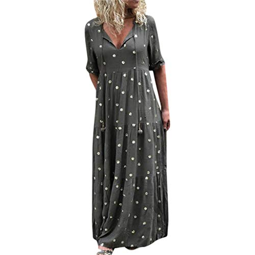 Lovygaga Summer Women Classic Polka Dot V-Neck Pleated Long Dress Ladies Casual Solid Color Ruffle Short Sleeve Dress Gray