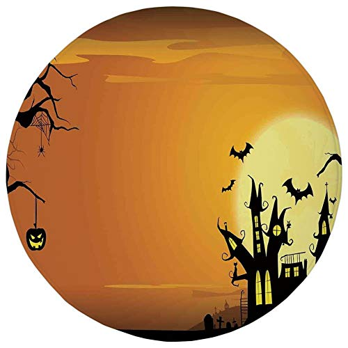 AZXGGV Round Rug Mat Carpet,Halloween Decorations,Gothic Haunted House Bats Western Spooky Night Scene with Pumpkin,Orange Black,Flannel Microfiber Non-Slip Soft Absorbent,for Kitchen Floor Bathroom ()