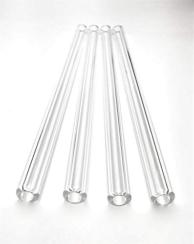 Thetrazspot Crystal clear straight glass straw set of 4 with cleaning brush 9.5mm x 8 inch ()