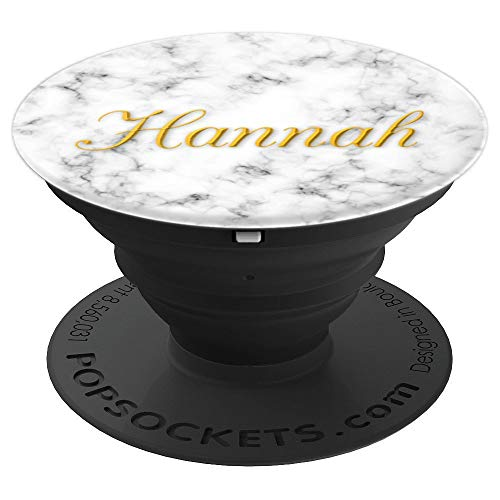 Hannah Pop Socket on White Black Marble. Name Hannah. - PopSockets Grip and Stand for Phones and Tablets