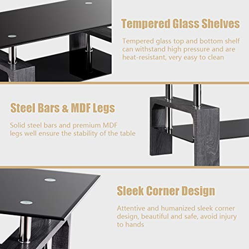 home & kitchen, furniture, living room furniture, tables,  coffee tables  picture, Tangkula Glass Coffee Table Modern Simple Style Rectangular Wood Legs End Side Table Living Room Home Furniture with Shelf (Black) in US5