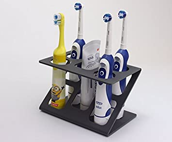 Plastica,Colore VJK Portaspazzolini Grande Bianco e Grigio Elettrico Portaspazzolino Organizzatore Supporto Accessori da Bagno