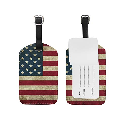 2PCS Leather Vintage American Flag Luggage Tags Travel Baggage Labels Bag Tag ()