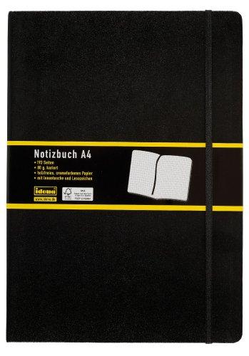 Idena 209280 - Notizbuch DIN A4, 192 Seiten, 80 g/m², kariert, schwarz