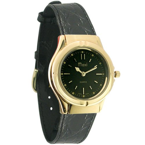 Mens Sports Gold-Tone w- Black Dial Braille Watch - Leather Band