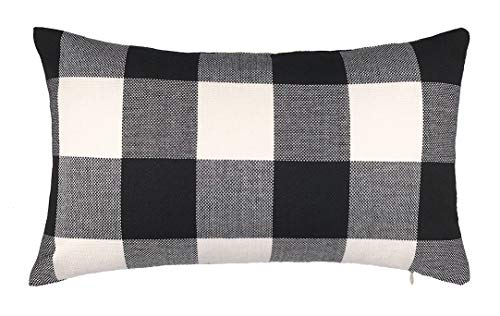 4TH Emotion 12 x 20 Inch Black and White Buffalo Check Plaids Lumbar Throw Pillow Case Cushion Cover Retro Farmhouse Decoration for Couch Sofa Bed