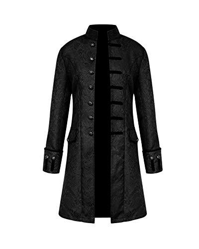 Unie Long Punk Couleur Manteau Noir Homme Décontracté Costume Veste Steampunk Vintage Rétro Lâche Gothique vZvxYqw