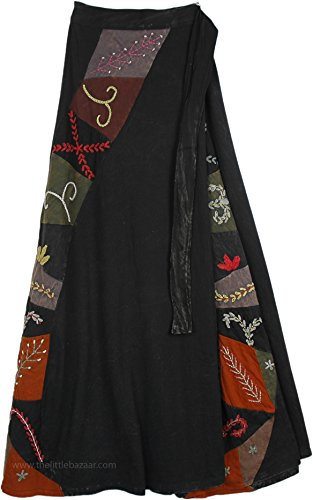 TLB Patchwork and Hand Embroidered Deep Black Wrapper Skirt - L:37