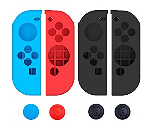 Pegly Joy-Con Grips Gel Guards with Thumb Grips Caps Protective Case Covers Anti-Slip Ergonomic Lightweight Joy Con Comfort Grip Controller Skin For Nintendo Switch Joy Con Four Pieces Black Red Blue ()
