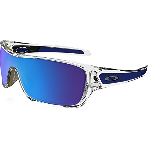 Oakley Men's Turbine Rotor Non-Polarized Iridium Rectangular Sunglasses, Polished Clear w/Sapphire Iridium, 132 - Oakley Sapphire Iridium