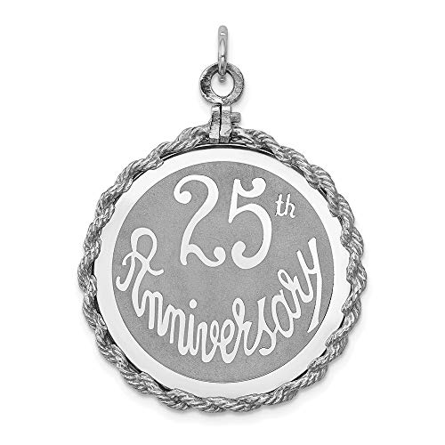 925 Sterling Silver 25th Anniversary Disc Pendant Charm Necklace Special Day Fine Jewelry Gifts For Women For Her