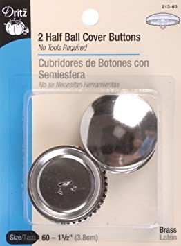 Size 18-7//16-Inch Dritz 213-18 Half Ball Cover Buttons 5-Sets
