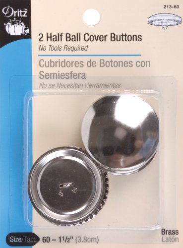 Dritz 213-60 Half Ball Cover Buttons, Size 60 - 1-1/2-Inch, 2-Sets