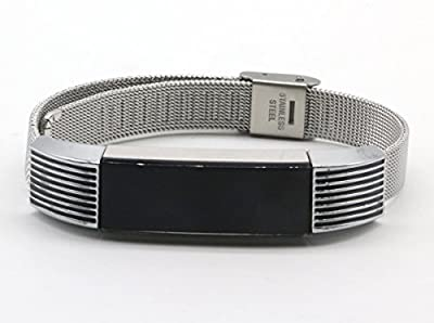 Fashion Stainless Steel Replacement Accessory Mesh Band/ Metal Wristband Bracelet Strap with Black Lines for Fitbit Alta Fitness Tracker, Large Size