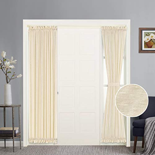 Turquoize Natural Linen Blended Semi-Sheer French Door Curtain Premium Soft Rich Material Curtain Panels with Adjustable Tie-Backs, 25x72 - Inches, Beige, 2 Panels (Door Back Panel Tie)