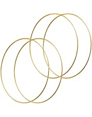HOHIYA 24 inch Metal Floral Hoop Wreath Large Gold Ring 5mm Wire for Christmas Wedding Wall Hanging 5mm Wire (Pack of 4)