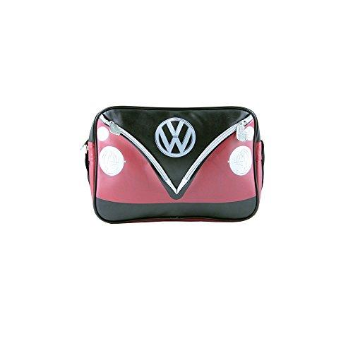 VW Collection by BRISA Schultertasche Umhängetasche mit VW Bulli T1 Motiv - Cremeweiß/Braun Schwarz/Rot 2WGAijt