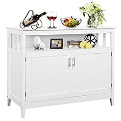 Farmhouse Buffet Sideboards Costzon Kitchen Storage Sideboard Dining Buffet Server Cabinet Cupboard, Free Standing Storage Chest with 2 Level… farmhouse buffet sideboards