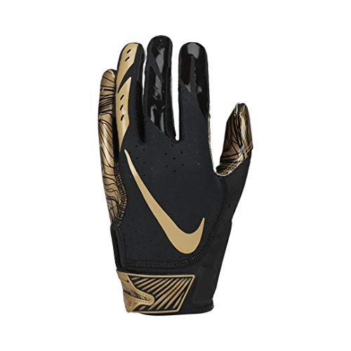 Nike Men's Vapor Jet 5.0 Football Gloves (Black/Metallic Gold, Medium)