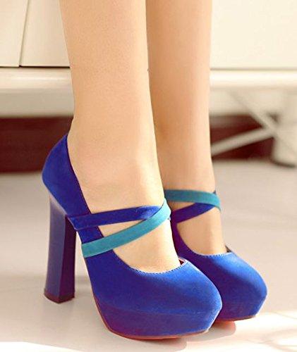 IDIFU Womens Sexy Cross Super High Chunky Platform Slip On Gladiator Pumps Sandals Blue 8DyYdTQJD