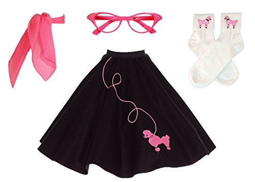 (Hip Hop 50s Shop Adult 4 Piece Poodle Skirt Costume Set Black and Pink)