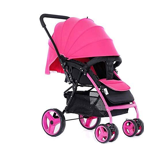 (MWPO Sitting Horizontal High Landscape Umbrella Portable Cart Folding Two-Way 4 Wheel Shock Absorber Newborn Four Seasons Universal Travel Sunshade Optional 4 Colors (Color : Rose red))