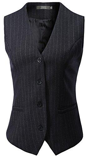 Fully Lined Petite Coat (Vocni Women's Fully Lined 4 Button V-Neck Economy Dressy Suit Vest Waistcoat - Grey Pinstripe, US M, Asia 3XL)