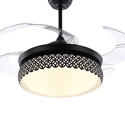 TiptonLight Modern Black Ceiling Fan Lamp LED 3 Changing Light 4 Retractable Blades with Remote Control for Indoor/Bedroom 42-Inch Mute Energy Saving Fan (Acrylic Blades) by TiptonLight (Image #4)