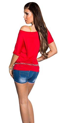 Damen Shirt Kurzarm T-Shirt Tunika 36 38 40 42 Neu Sexy Farbe Neu Rot ...
