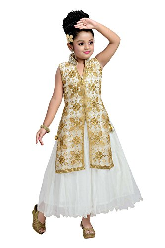 Aarika Girl's Cream Self Design Party Wear Gown (G-2010-CREAM_20_3-4 Years) by Aarika