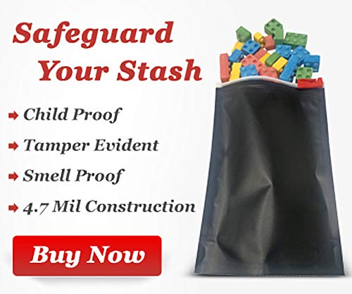 Smell Proof Mylar Ziplock Bags with Gusset - Opaque Child Resistant Pouch Bags with Tamper Evident Seals, Matte Black for Herbs and Food Storage (4