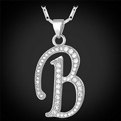 Metal Color: B Rhodium Plated Davitu Collare A to I 26 Alphabet Letter Pendant Necklace Men Jewelry Gold Color Initial Letter Charm Necklace Women Men Jewelry P167