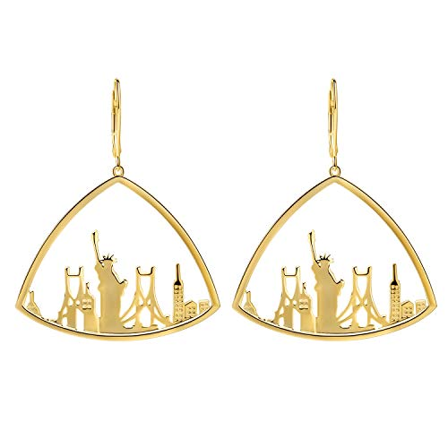 SA SILVERAGE Personalized Gilded Triangle Statue of Liberty Dangle Earrings Sterling Silver Earrings