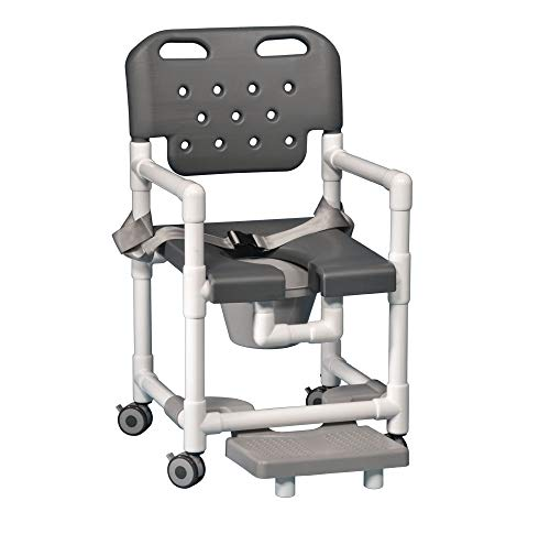 IPU ELT817 P FRSB Elite Shower Chair Commode with Footrest and Safety Belt for use Over existing Toilet, Bedside, and in The Shower (Gray)