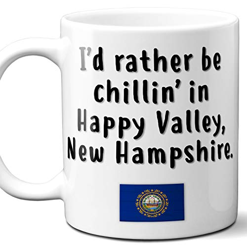 """Happy Valley New Hampshire Coffee Mug Souvenir Gift.""""Chillin In"""" With NH Flag. 11 Ounces."""