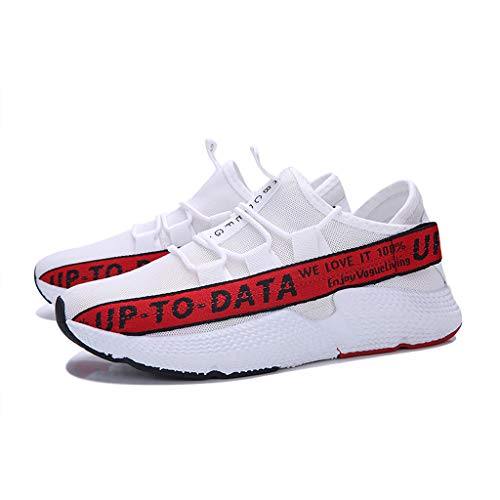 Men's Casual Letter Printing Increased Shoes Wild Fashion Sports Shoes Mesh Breathable Sports Shoes Red by Lloopyting (Image #5)