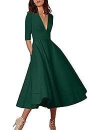 Womens Elegant Cocktail Maxi Dress Deep V Neck 3/4 Sleeve Vintage Pleated Dress