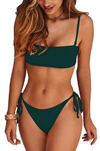 Almaree Lace Up Bikini Sets for Women Bandeau Tie Side High Leg Bathing Suit Green L