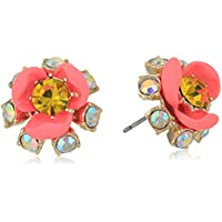 Betsey Johnson Womens Pink and Gold Flower Stud Earrings