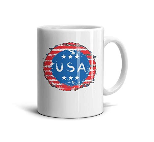 Pqwea Mini Art American Flag Sign Ceramic Mug 11 Oz Daily Use for Mans and Womens Personalized Grandpa Cup