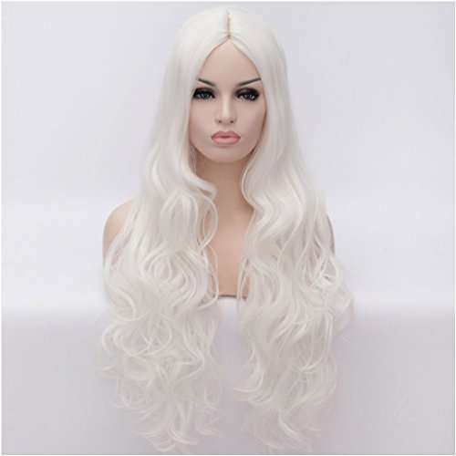 [Flovex Women Long Wavy Cosplay Wigs Ladies Sexy Natural Costume Club Party Daily Hair with Wig Cap] (Long Sexy Wigs)