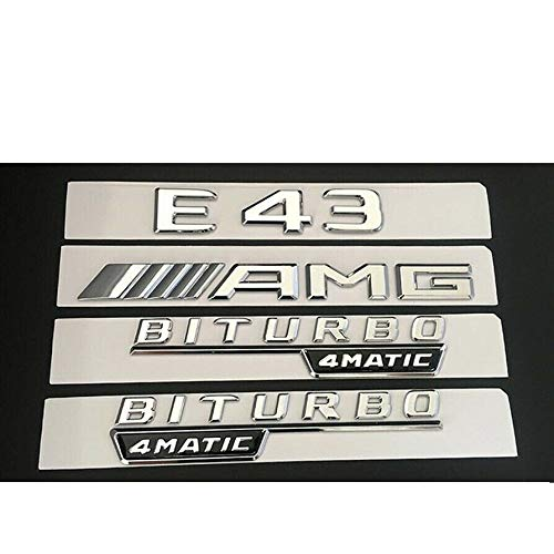 Chrome E43 AMG BITURBO 4MATIC Trunk Fender Badges Emblems for Benz W213
