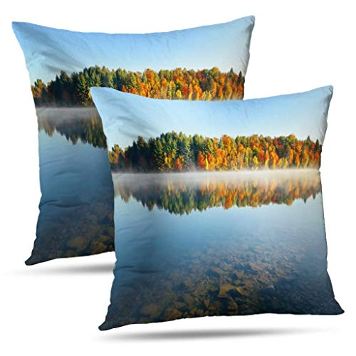 Coeny Autumn-Colors Decorative Pillow Covers,Set of 2 18x18 Inch Cushion Cover, Lake Fog with Autumn Cotton and Ployster Blend Pillow Cases for Sofa Bed Home Car,Lake Fog Autumn (Best Places To See Fall Foliage New England)