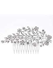 KaLaiXing Bridal Hair Comb Wedding Hair Side Combs Bridal Head Pin Headpiece Crystal Pearls Flower Bride Bridesmaid--HD04