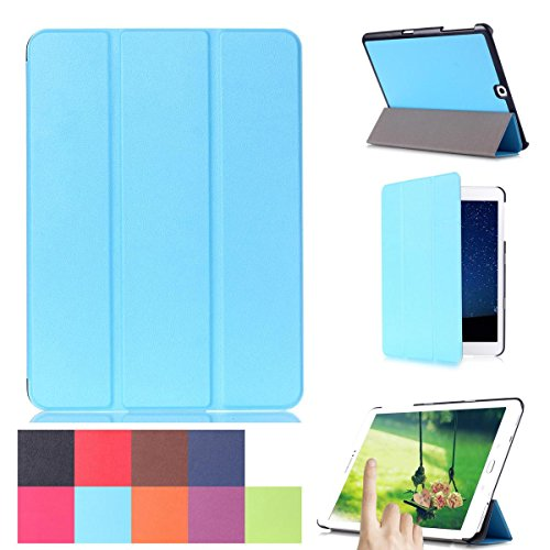 Galaxy Tab S2 9.7 Case, [Multi-angle Stand]- Ultra Slim Lightweight 3-folding PU Leather Standing Smart Shell Cover for Samsung Galaxy Tab S2 9.7 / SM-T810 / SM-T815 -Sky Blue