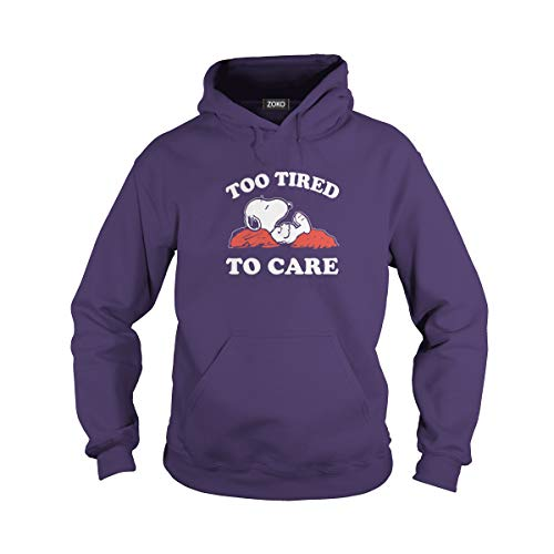 Unisex Too Tired to Care Adult Hooded Sweatshirt (S, Purple)]()