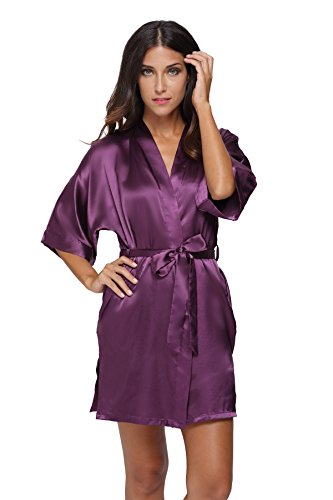 The Bund womens Pure Colour Short Kimono Robes with Oblique V-Neck purplered (V-neck Kimono)