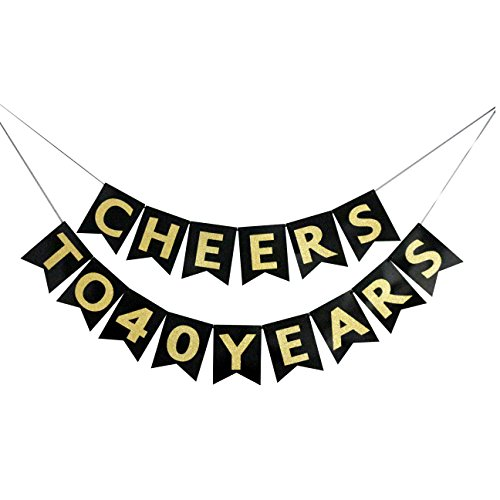 Cheers to 40 Years Banner - Happy 40th Birthday Party Decorations - 40th Wedding Anniversary Decorations - NO ASSEMBLY (40th Decorations)